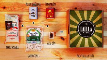 Pack Paella y pa'Él, auténtica Paella Valenciana con ingredientes gourmet, regalos para amigos y amigas, regalos originales gourmet Gastroidea.com