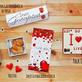 Pack enamorados, San Valentín, personas especiales, te quiero - Regalos originales gourmet Gastroidea.com